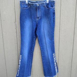 Y2K Revolt blue denim frayed lace up jeans